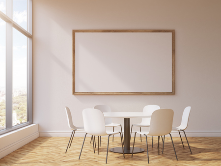 round table: Blank picture frame and round table with chairs in conference room interior with concrete wall, wooden floor and window with city view. Mock up, 3D Rendering