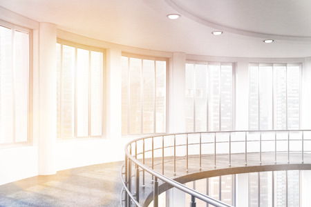 toning: Bright interior with railings, windows with Singapore city view, concrete walls, floor and ceiling with lamps. Toned image. 3D Rendering