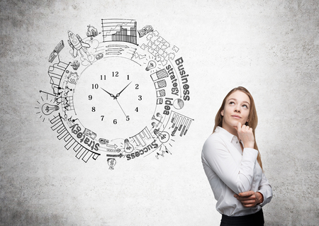 thinking woman: Time management concept with thoughful young businesswoman and clock cketch on concrete background Stock Photo