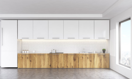 kitchen window: Front view of white and wooden kitchen interior with blank whiteboard, window with city view, fridge and concrete floor. 3D Rendering Stock Photo