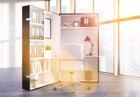 office window view: Office interior with abstract workplace inside big suitcase and window with Singapore city view. Toned image, 3D Rendering Stock Photo