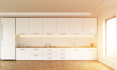 kitchen window: Luxury kitchen interior with white furniture, wooden floor and window with city view. Toned image. 3D Rendering