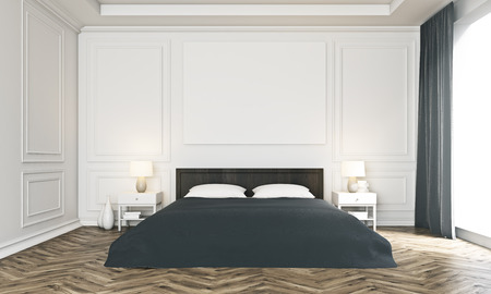 poster bed: Front view of luxurious bedroom interior with blank poster above bed, wooden floor and panoramic window with curtains. Mock up, 3D Rendering