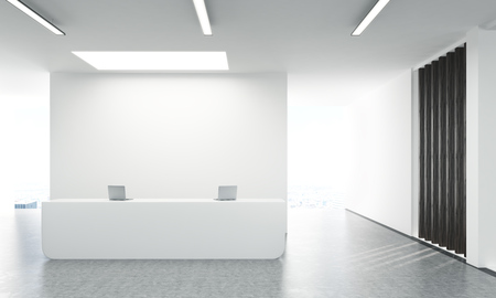 registration: Front view of concrete office lobby with laptops on white reception stand and blank wall behind. 3D Rendering