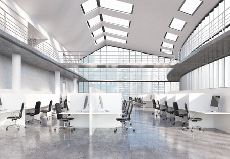 city view: Large concrete coworking office with Singapore city view. 3D Rendering Stock Photo
