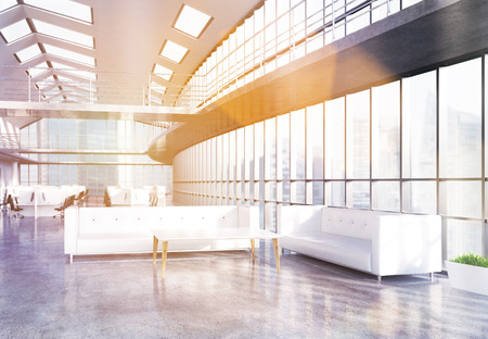 office windows: Office lobby with two white sofas, coffee table and panoramic windows with Singapore city view. Toned image. 3D Rendering