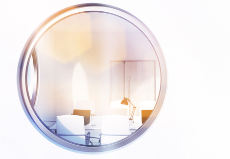 window view: Front view of round window with conference room view. Toned image, 3D Rendering