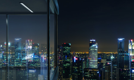 penthouse: Side view of panoramic balcony design with illuminated  city view at night. 3D Rendering