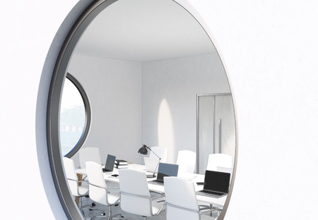 window view: Round window with conference room view. Sideview, 3D Rendering Stock Photo