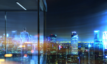 penthouse: Back view of businessman on panoramic balcony with illuminated  city view at night. 3D Rendering Stock Photo