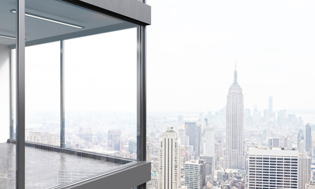city view: Panoramic balcony design with New York city view. 3D Rendering Stock Photo