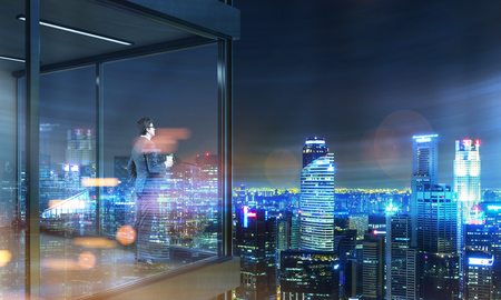 penthouse: Young businessman with coffee cup in hand standing on panoramic balcony with city view at night. 3D Rendering
