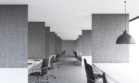 partitions: Coworking office interior with concrete floor, ceiling and partitions between workplaces. 3D Rendering