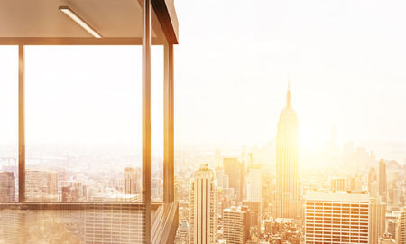 penthouse: Panoramic balcony design with New York city view. Toned image. 3D Rendering