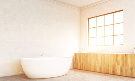 corner tub: Side view of concrete bathroom interior with bathtub, wooden counters and framed window with sunlight. Toned image. 3D Rendering Stock Photo