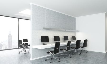 Concrete coworking office interior with dull New York city view. 3D Rendering