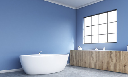 corner tub: Side view of blue bathroom interior with bathtub, wooden counters and framed window. 3D Rendering
