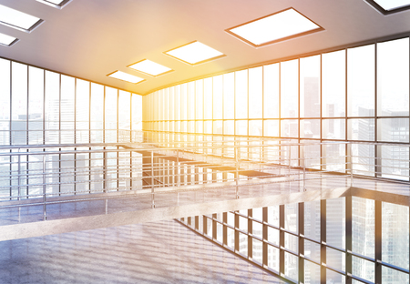railing: Empty office interior with railing, panoramic windows and New York city view. Toned image 3D Rendering