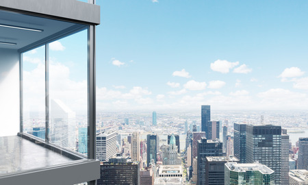 penthouse: Side view of panoramic balcony with New York city view. 3D Rendering Stock Photo