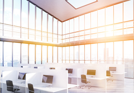 toning: Side view of coworking office interior with panoramic windows and New York city view. Toned image. 3D Rendering Stock Photo