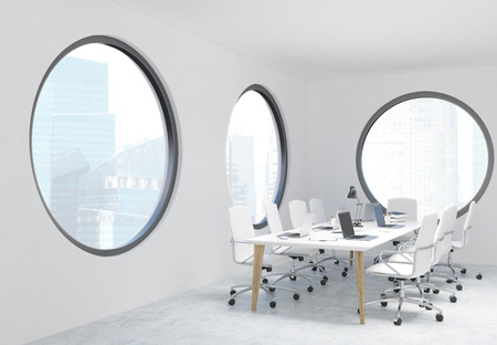singapore city: Concrete conference room interior with round windows and Singapore city view. 3D Rendering