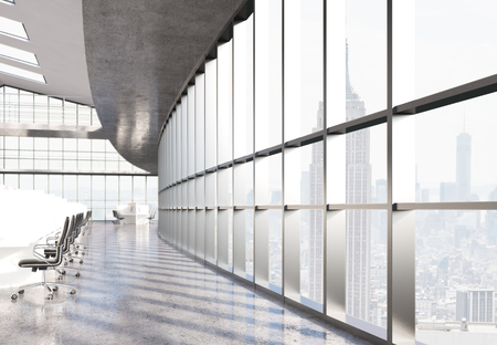 large office: Side view of large concrete coworking office with New York city view. 3D Rendering Stock Photo