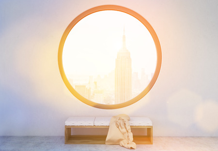 toning: Concrete interior with blanket on bench and round window with New York city view. Toned image. 3D Rendering Stock Photo
