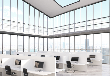 glass office: Side view of coworking office interior with panoramic windows and New York city view. 3D Rendering