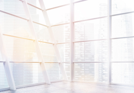 empty office: Empty office interior with panoramic framed windows, concrete floor and Singapore city view. 3D Rendering