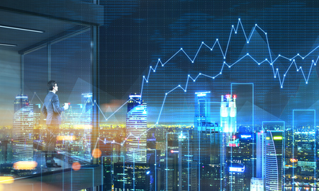 Young businessman with coffee cup in hand standing on panoramic balcony with Singapore city view and business chart at night. 3D Rendering