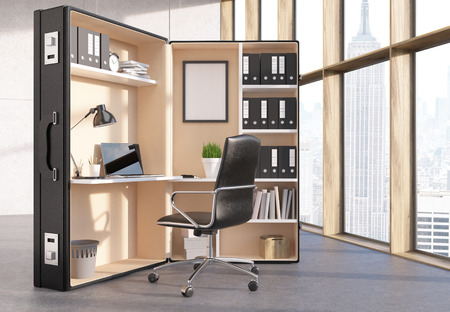 office window view: Office interior with abstract workplace inside big suitcase and window with New York city view. 3D Rendering
