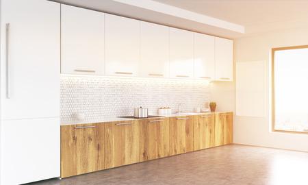 Vista Laterale Del Bianco E Interni In Legno Cucina Con Lavagna ...
