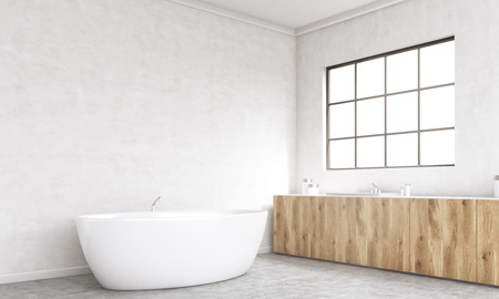 corner tub: Side view of concrete bathroom interior with bathtub, wooden counters and framed window. 3D Rendering