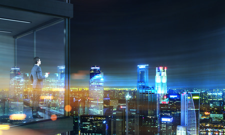 penthouse: Side view of young businessman with coffee cup in hand standing on panoramic balcony with  city view at night. 3D Rendering