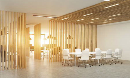 Side View Of Open Office Interior With Wooden Partitions, Concrete Floor,  Sunlight And Meeting