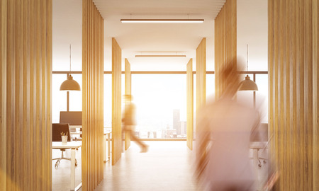partitions: Blurry businesspeople walking in open office interior with wooden partitions, concrete floor, ceiling with lamps and New York city view.Toned image, 3D Rendering