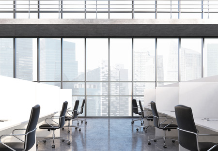 singapore city: Coworking office interior with partitioned workplaces, chairs and panoramic window with Singapore city view. 3D Rendering Stock Photo