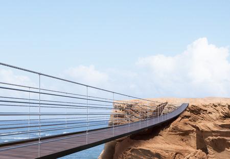 바다와 밝은 하늘 배경에 절벽으로 이어지는 다리와 비즈니스 위험 및 성공 개념. 3D 렌더링