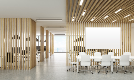 partitions: Open office interior with wooden partitions, New York city view and meeting area with blank whiteboard. Mock up, 3D Rendering Stock Photo