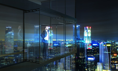 penthouse: Thoughtful businessman looking into the distance from empty balcony interior on illuminated  city background at night. 3D Rendering
