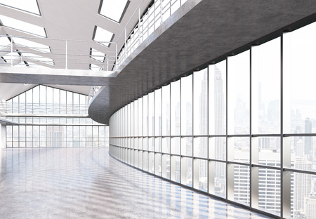 railings: Empty office interior with railings and panoramic windows with New York city view. 3D Rendering Stock Photo