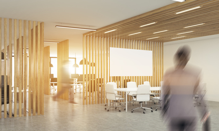 partitions: Blurry businesspeople in open office interior with wooden partitions,sunlight and meeting area with blank whiteboard. Side view. Mock up, 3D Rendering