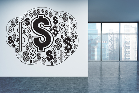singapore city: Financial growth concept with dollar sign sketch on office wall with Singapore city view. 3D Rendering