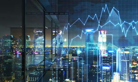 3d manager: Young fund manager with coffee cup looking into the distance from empty balcony interior on  city and business chart background at night. 3D Rendering