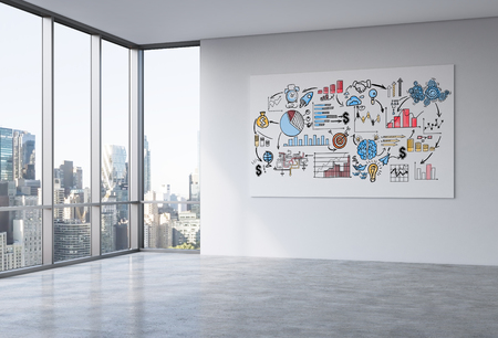 panoramic business: Whiteboard with business sketch in empty office interior with concrete floor, wall and panoramic window with New York city view. 3D Rendering Stock Photo