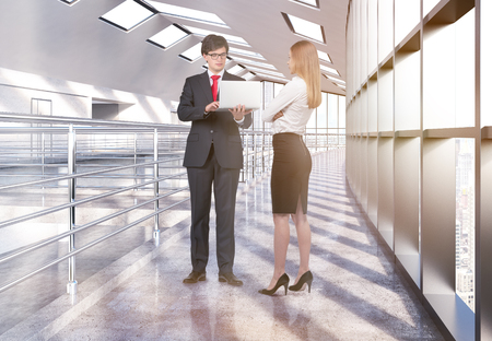 discussing: Businesswoman and businessman in laptop standing and discussing project in empty office interior with railings and windows with city view. 3D Rendering Stock Photo