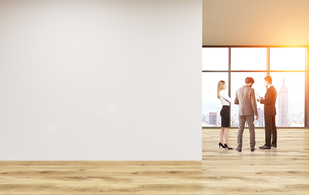 unfurnished: Blank wall in unfurnished office interior with businesspeople and New York city view. Toned image. Mock up, 3D Rendering Stock Photo