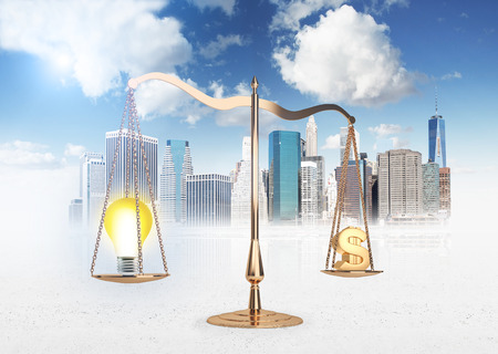 sign equals: Scales of justice with lightbulb and dollar sign on New York city background. Business idea equals money