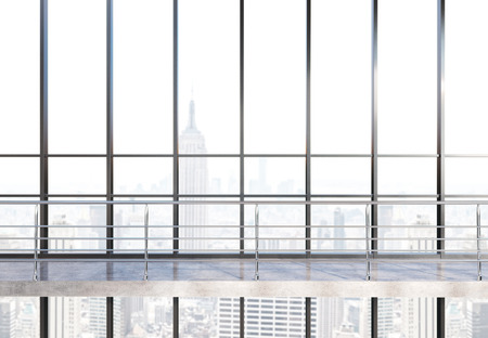 railings: Empty concrete office interior with railings and panoramic window with New York city view. 3D Rendering