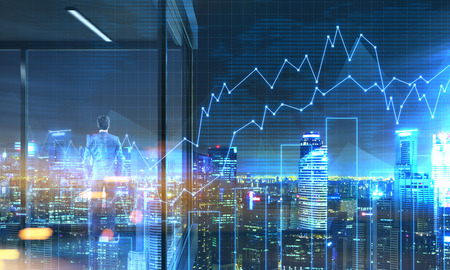 panoramic business: Back view of young businessman standing on panoramic balcony with Singapore city view and business chart at night. 3D Rendering